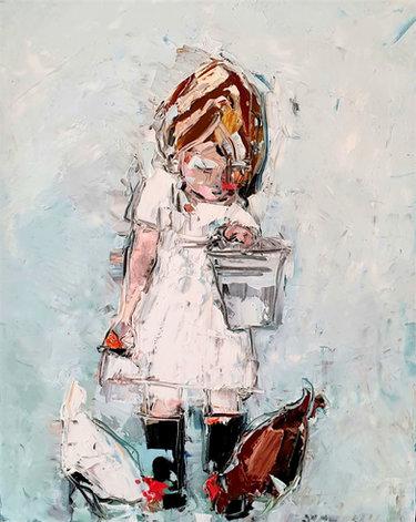 Little girl, 2 Chooks.jpg
