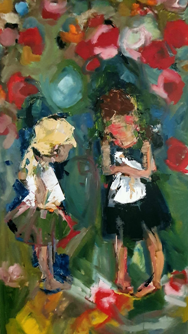 Two Girls with the Bird in the Garden