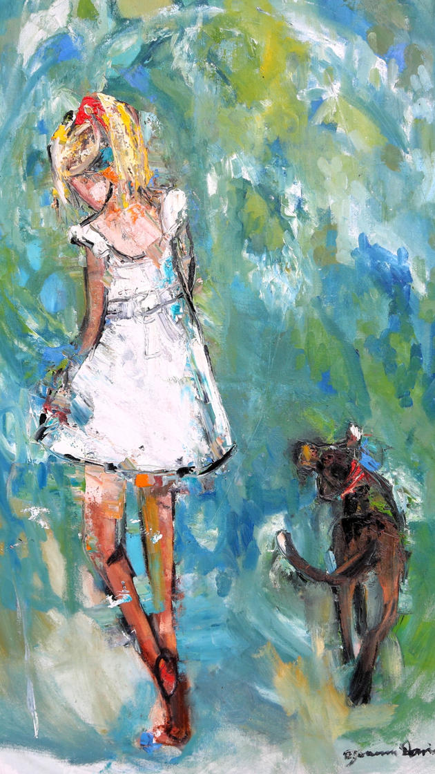 Girl with Dog on the Path to the Beach