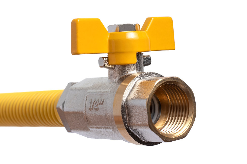 Brass gas tap with yellow handle connect