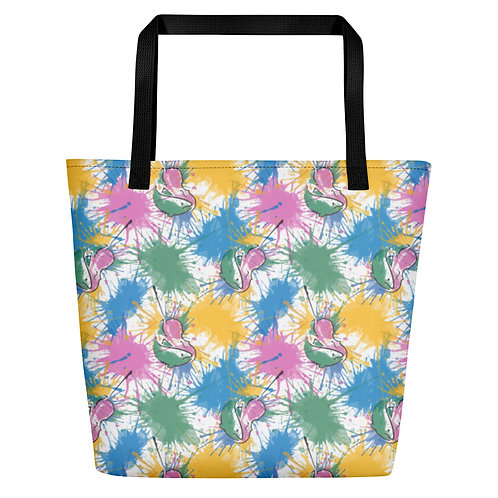 Fish & Fiddle Pattern Large Tote Bag