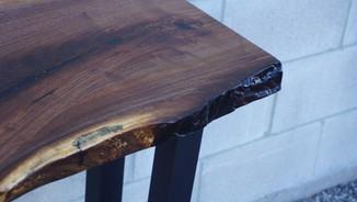 WALNUT WATERFALL CONSOLE TABLE
