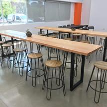 Douglas fir bar height lunch tables