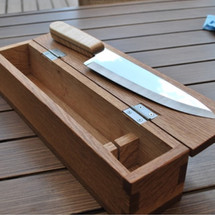 Chef's knife with maple grip and oak display box