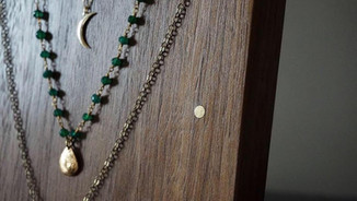 WALNUT NECKLACE DISPLAY WITH BRASS ACCENTS
