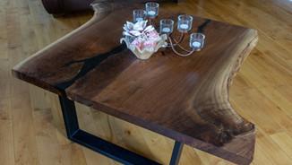 WALNUT AND EPOXY COFFEE TABLE