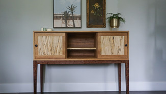 RIFT SAWN WHITE OAK SIDEBOARD WITH SPALTED MAPLE ACCENTS
