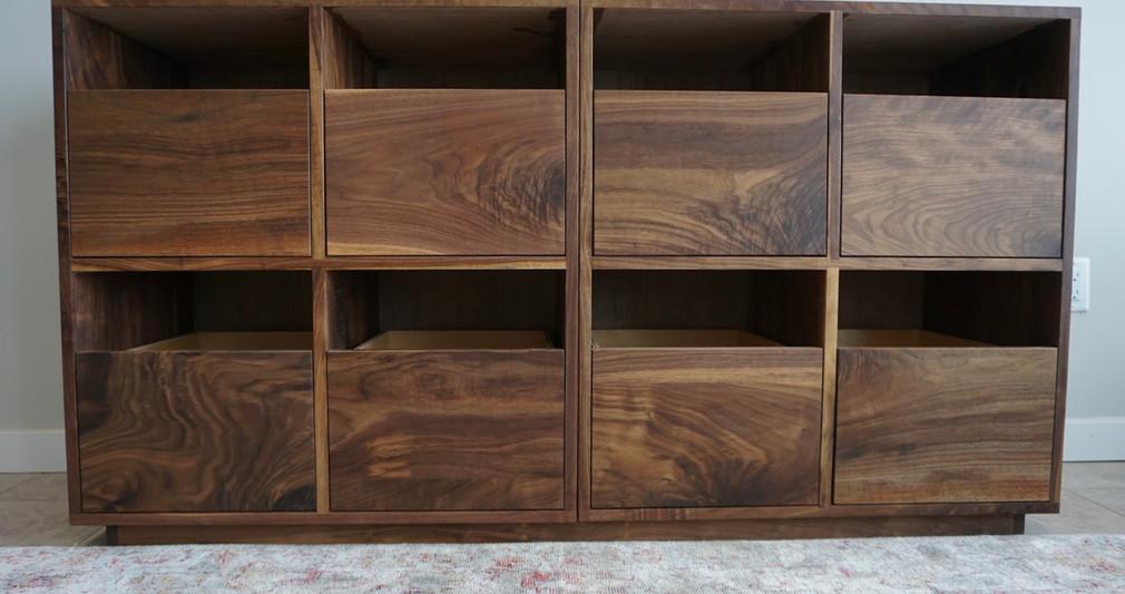 Walnut record cabinet