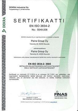 Sertifikaatti ISO 3834-2