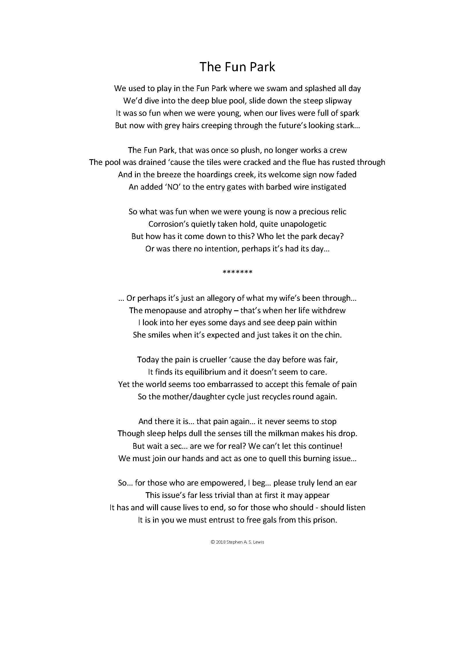 The Fun Park A Poem By My Husband Bradstreet loves her husband and wishes it to continue even after their deaths. the fun park a poem by my husband