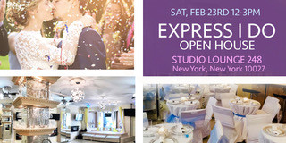 Planning a wedding can be overwhelming, stressful and expensive Let Express I DO come to the rescue and making the wedding of your dream much more affordable.   Visit us on Saturday, February  23, 2019 12-3pm at Studios Lounge 248  located 248 Lenox Ave New York, NY 10027. Let us show you how to have the wedding of your dreams under $5,000. Call 1.877.729.7236. Free wedding Giveaway!