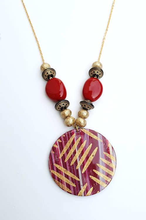 Handmade red round pendant long necklace