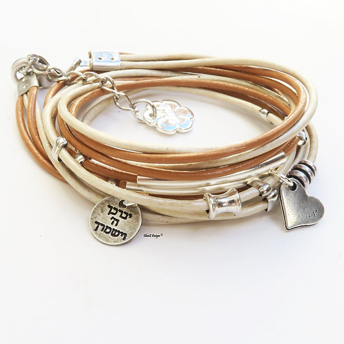 white leather layered wrap bracelet with silver heart. God Bless you Jewish luck bracelet