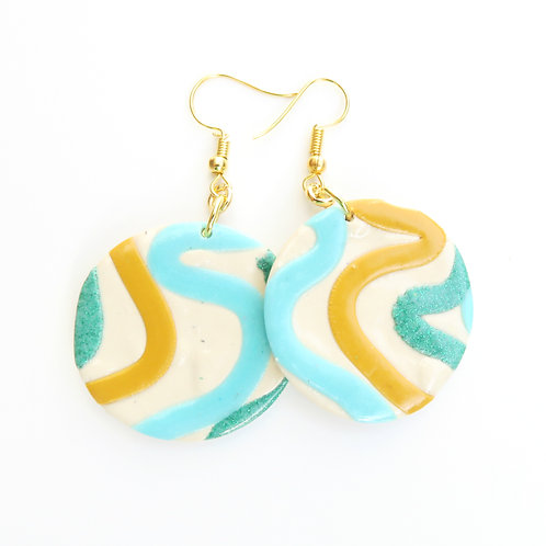 Cream and teal polymer clay round dangle earrings
