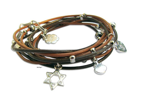 silver Star of David bracelet. leather wrap bracelet. Jewish bracelet. Bath Mitzva bracelet