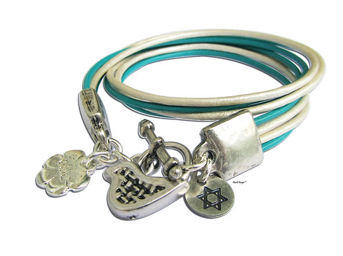 Silver Star of David with peace bird wrap bracelet