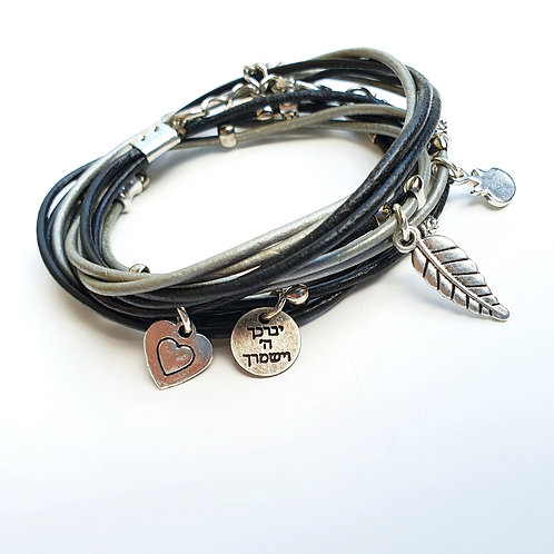 God Bless you black and silver  wrap bracelet with charms