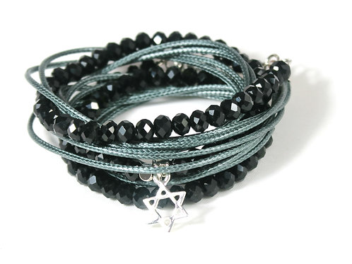 silver Star of David bracelet.  crystals wrap bracelet. Jewish bracelet