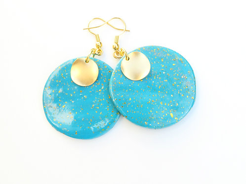 Handmade polymer clay round dangle turquoise earrings