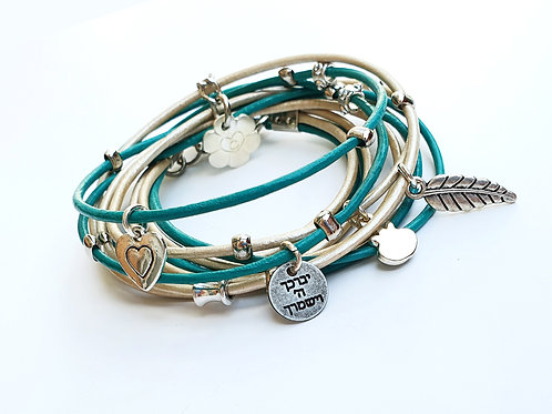 God Bless you turquoise and white  wrap bracelet with charms