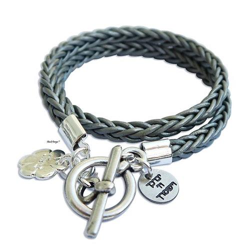 Bat Mitzvah gift. God bless jewish bracelet. leather wrap bracelet.