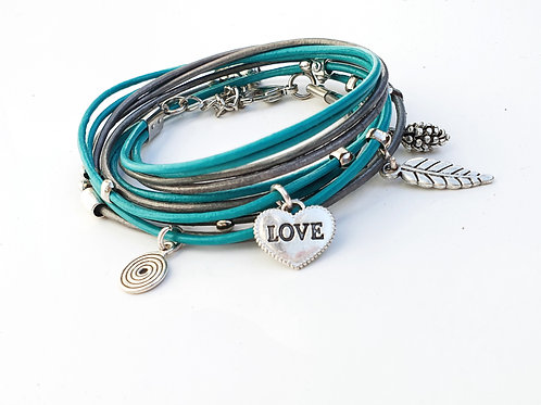 Turquiose leather wrap bracelet with silver Love