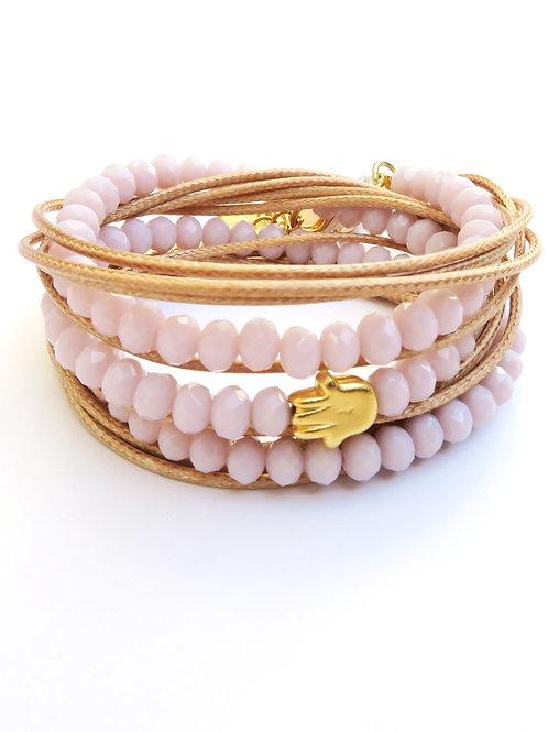 light pink crystals wrap bracelet, gold Hamsa good luck bracelet
