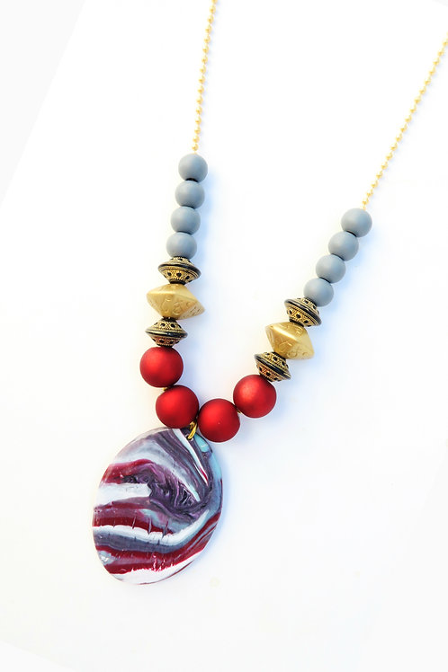 Red salsa pendant beaded long necklace