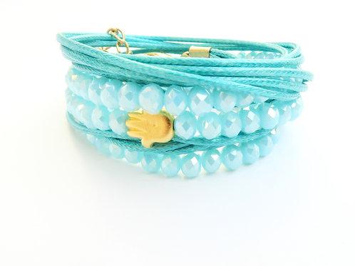 ChenZ / luck bracelet / crystals bracelet / jewish jewelry / gold Hamsa adjustable bracelet