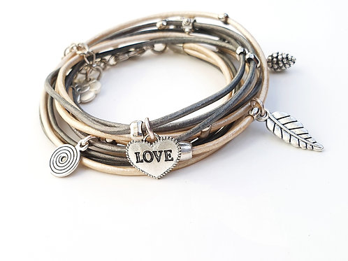 Leather wrap bracelet with silver Love