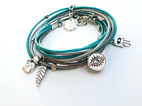 Turquoise leather wrap bracelet with silver evil eye and Hamsa