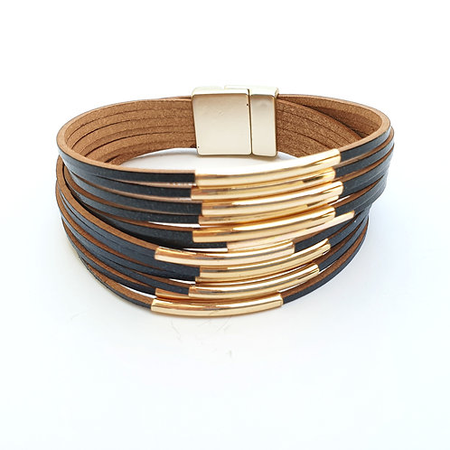 Black leather layered bracelet with  golden tubes