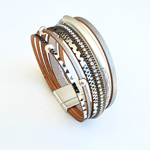 Leather layered bracelet with silver tube