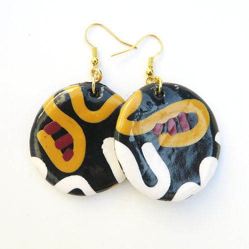Handmade round polymer clay  dangle black earrings