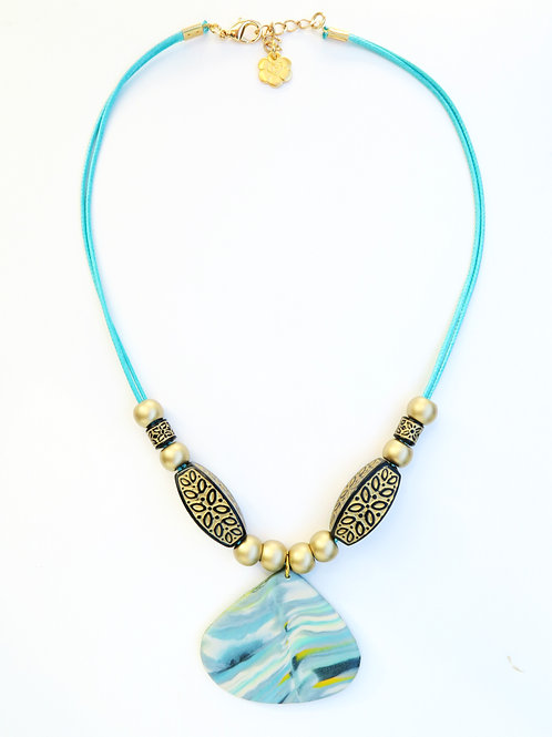 Handmade teal drop pendant beaded short necklace