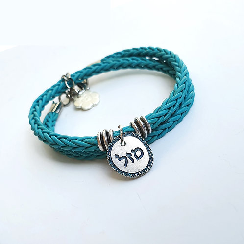 Silver Luck turquoise leather wrap bracelet