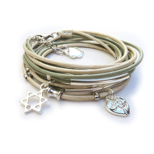 star of david leather bracelet / silver star of david / Jewish bracelet / Bat Mitzvah bracelet / ChenZ