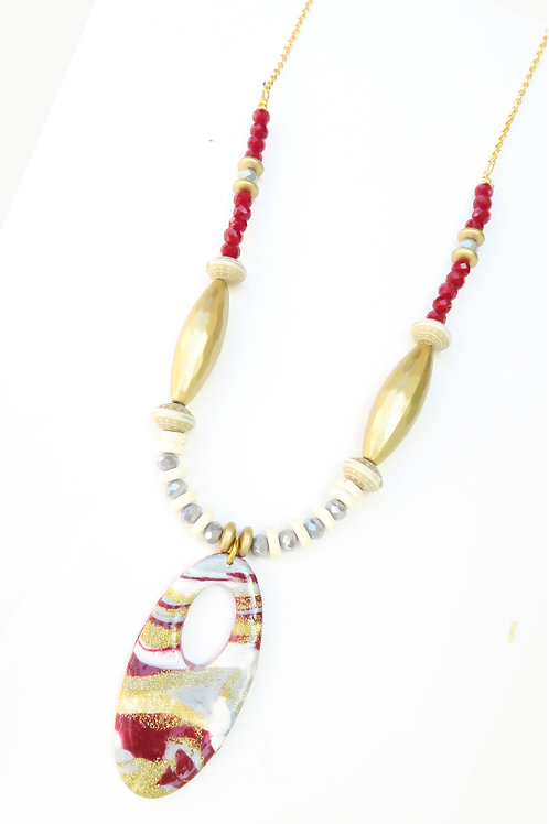 Red wine oval pendant beaded long necklace