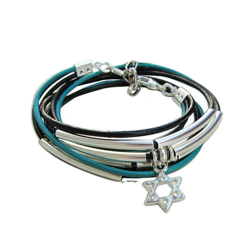 Silver Star of David leather Jewish wrap bracelet