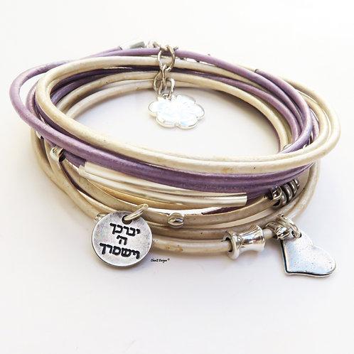 ChenZ . Bat Mitzvah bracelet. leather bracelet. Hebrew God bless bracelet. Jewish bracelet