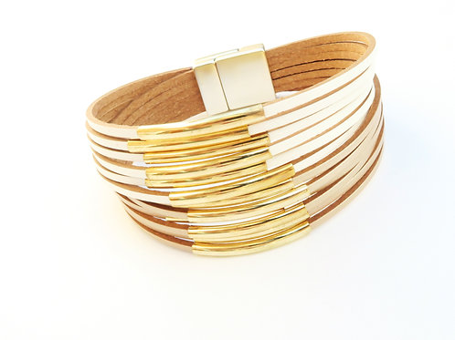 Leather layered bracelet with  golden tubes