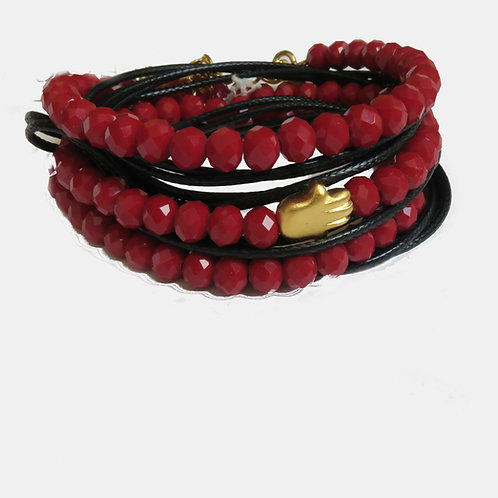 dark red burgandy crystals wrap bracelet, gold Hamsa good luck bracelet