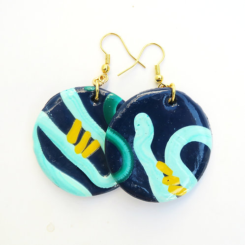 Handmade polymer clay round royal blue earrings