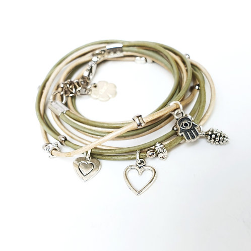 Water green leather wrap bracelet with charms