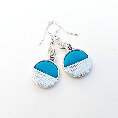 Turquoise and silver small round dangle earrings