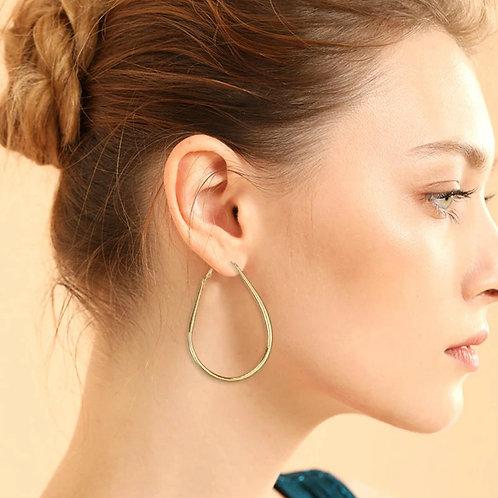 Golden big hook earrings