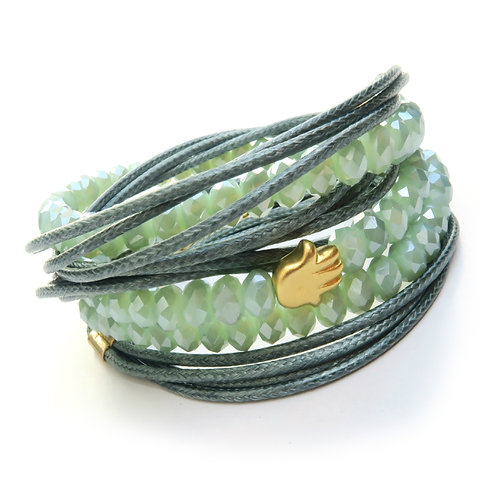 light green crystals wrap bracelet, gold Hamsa good luck bracelet adjustable