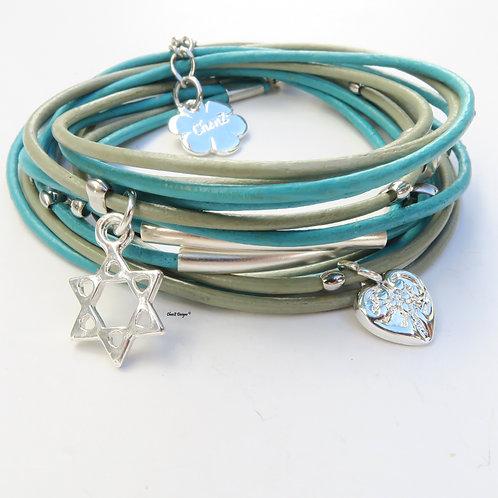silver Star of David, silver heart, leather wrap bracelet, Jewish bracelet, Bat Mitzva bracelet , ChenZ