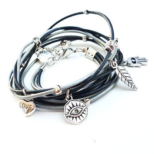 Black leather wrap bracelet with silver evil eye and Hamsa
