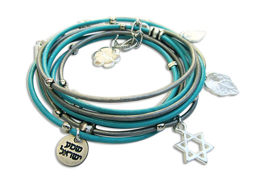 silver Star of David leather wrap bracelet adjustable